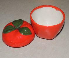 This vintage red ripe ceramic or porcelain by GIFTSwithSPIRIT, $8.00