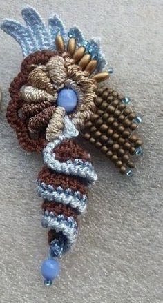 Discussion on LiveInternet - Russian Service Online Diaries Art Au Crochet, Crochet Motifs, Freeform Crochet, Tapestry Crochet, Irish Crochet, Crochet Stitches, Knit Crochet, Crochet Patterns, Crochet Brooch