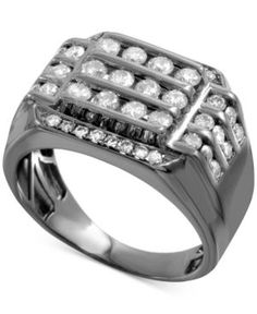 Men's Gray Diamond Horizontal Cluster Ring (1-1/2 ct. t.w.) in Sterling Silver with Gray Rhodium Plating - Gray