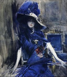 """The Divine in Blue by Giovanni Boldini Boldini was an Italian genre and portrait painter. According to a 1933 article in Time magazine, he was known as the """"Master of Swish"""" because of his flowing style of painting. Giovanni Boldini, Manet, Italian Painters, Italian Artist, Thomas Gainsborough, Edward Steichen, Illustration Art, Illustrations, Pierre Auguste Renoir"""