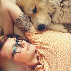 http://tattoo-ideas.us #Floral tattoo...but I like this photo for a couple different reasons; snuggly dog, fun glasses and cute shirt too.
