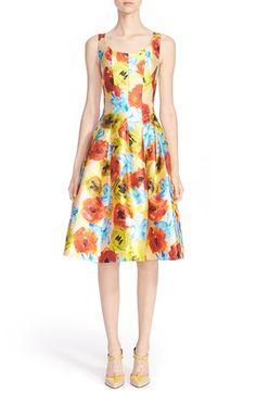 Oscar de la RentaImpastoFloral Print Silk Blend Fit & Flare Dress available at #Nordstrom