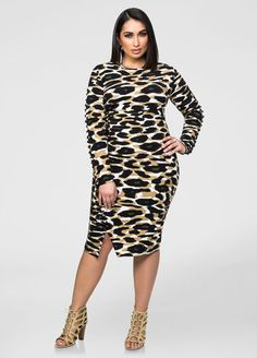 Camo Exposed Zip Lace-Up Dress Ashley Stewart