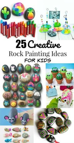 25 Creative Rock Painting Ideas and Rock Crafts for Kids #creativerockpainting #rocks Rock Painting Patterns, Rock Painting Ideas Easy, Rock Painting Designs, Painting For Kids, Art For Kids, 3 Kids, Children, Kids Crafts, Craft Activities For Kids