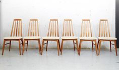 Danish Eva Dining Chairs by Niels Koefoed for Hornslet, 1960s, Set of 6 for sale at Pamono