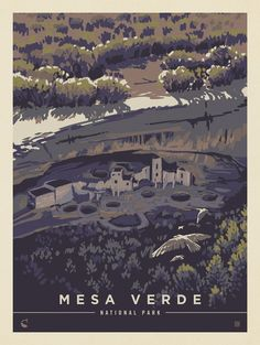 Mesa Verde National Park: Bird's Eye View   Anderson Design Group Carlsbad Caverns National Park, American National Parks, Sketching Techniques, National Park Posters, Nature Posters, Vintage Travel Posters, Poster Vintage, Birds Eye View, Landscape
