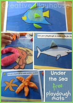 Under the Sea, Play dough, Mats, Drawings, Dough, Display, Classroom display, Early Years (EYFS), KS1 & KS2 Primary Teaching Resources Sea Activities, Playdough Activities, Fun Activities For Kids, Under The Sea Crafts, Under The Sea Theme, Primary Teaching, Teaching Resources, Play Doh Animals, Underwater Theme
