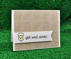 """""""Get Well Soon"""" stamp set by Lawn Fawn - I love the little nurse bird!"""