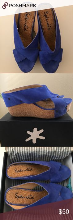 """Splendid Ocean Blue Suede Wedges 10M The Splendid Gravity wedge features a lightweight, cushiony cork heel and platform, topped with stud-detailed suede straps. Suede upper with aged brass studs. 3 1/2"""" cork wedge heel, 1 1/2"""" platform; 2"""" equivalent. Crisscross straps extend over platform, around heel Cork footbed; rubber sole. """"Gravity"""" is imported. WORN ONCE. Comes in original box. Splendid Shoes Wedges"""