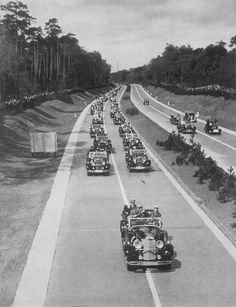 "fuehrerbefehl: "" (Click for Hi-res) Hitler and his entourage at the opening of the Autobahn. """