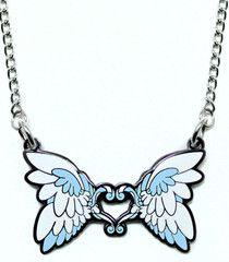 Aqua Feather Heart Metal Necklace