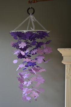 Flower nursery mobile / baby mobile from purple and by SierGoed