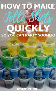 holiday parties There are many flavors to choose from, and when you learn how to make Jello shots quick you can get the party started even faster! Peach Jello Shots, Tequila Jello Shots, Alcohol Jello Shots, Strawberry Margarita Jello Shots, Best Jello Shots, Making Jello Shots, Champagne Jello Shots, Alcohol Drink Recipes, Jello Shots With Rum