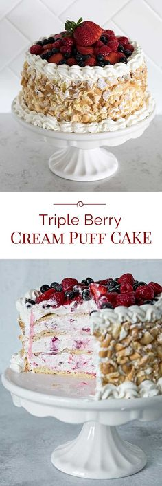 A Triple Berry Choux Cake with four layers of cream puff dough sandwiched with a sweet berry cream.