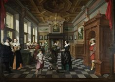 This painting is part of five pieces depicting an interior, two galleries and two outdoor stages, populated with many people. This piece shows an interior with different people and paintings and portraits on the wall. On the right, a gentleman entered the room. Among the attendees are Elisabeth of the Palatinate and Lord Craven.  [Oil on canvas, 230 x 320 cm]