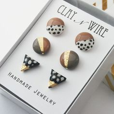 Stud Earring Set Polka-dot Studs Geometric Stud Earrings Minimalist Earring s Metal Clay Jewelry, Ceramic Jewelry, Polymer Clay Crafts, Polymer Clay Jewelry, Clay Beads, Diy Clay Earrings, Stud Earrings, Jewelry Crafts, Handmade Jewelry