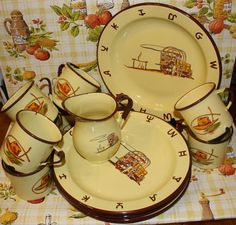 Your place to buy and sell all things handmade Vintage Western Decor, Western Theme, Kitchenware, Tableware, Vintage Enamelware, Chuck Wagon, Desert Homes, Vintage Yellow, Dinnerware