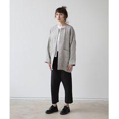 muku - Light Grey Patterned Oversized Jacket