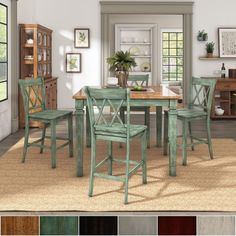Elena Antique Sage Green Extendable Counter Height Dining Set with Double X Back Chairs by iNSPIRE Q Classic (Antique White - Sets) Black Dining Room Furniture, Cabinet Furniture, Bar Furniture, Furniture Deals, Outdoor Furniture Sets, Coaster Furniture, Furniture Projects, Marble Top Dining Table, Dining Room Sets