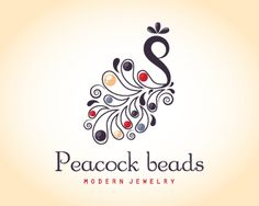 Peacock beads modern jewelry Logo design - An abstract peacock with shiny beads on its feathers. keyideas: purple, business, swirly, silver, upscale, nature, garden, pretty, center, décor, jewels, trade, fashion, gifts, stylize, tail, fancy, high end, graceful, crystal, handmade, pretty, lady, Any changes such as colors, font or name are FREE after purchase.This elegant logo is perfect for jewelry shop, Jewelry manufacturer, Jewelry Suppliers, jewelry designer, jewelry store, boutique, gi…