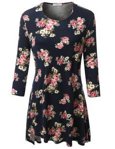 469e34eee08be LE3NO Womens Plus Size Loose Floral Print with Slight Peplum 3 4 Sleeve Top  (CLEARANCE)