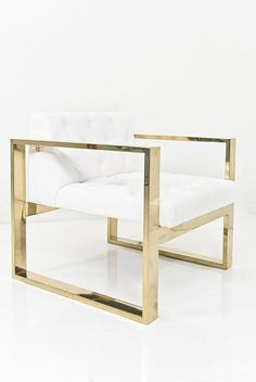 A geometric form melds with the all tufted seat to create this wonderfully comfortable yet striking Kube Chair. Finished in Ford White Faux Leather and a brass U-Leg Frame. Sofa Lounge, Modern Furniture, Furniture Design, Modern Chairs, Gold Furniture, Steel Furniture, Luxury Furniture, Furniture Ideas, Deco Design