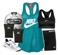 """""""Volleyball tryouts: Wendsday"""" by kaley-ii ❤ liked on Polyvore featuring NIKE, Mizuno and mollysbtscontest"""