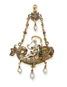 A RENAISSANCE REVIVAL GEM-SET AND ENAMEL PENDANT   The white enamel veil-festooned nymph riding on a polychrome enamel dolphin, thereby evoking Love's triumph in antiquity, decorated with ruby and diamond raised collets, suspending three drop-shaped pearls, to the gem-set chain with ruby, pearl and enamel surmount of foliate design, circa 1870, 14.7 cm. high, in fitted case