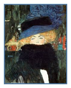 Art Nouveau Artist Gustav Klimt's The Lady with the Hat and Boa Counted Cross Stitch or Counted Needlepoint Pattern