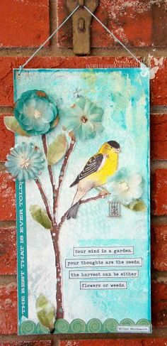 SOLD ~ Craft Room challenge winner - mixed media canvas, home decor
