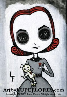 Love Me Or Else Voodoo Doll 5x7 art print from artbylupeflores etsy