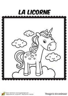 Coloriage pour enfant d'une licorne Colouring Pages, Coloring Sheets, Rainbow Birthday, Coloring For Kids, Digital Stamps, Fairy Tales, Snoopy, Creatures, Clip Art