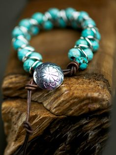 Double-strand Leather Bracelet with Turquoise Stones and Silver Rings