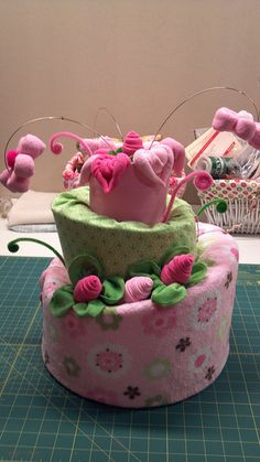 Diaper Cake.  Cute, if I don't say so myself.