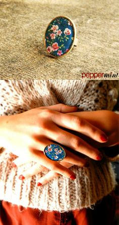 Oversized Blue Ring with pink flowers https://www.facebook.com/peppermint.jewels