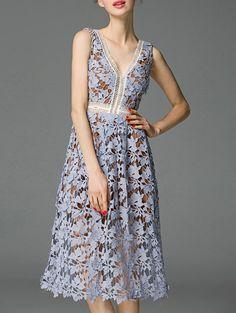 Slate V Neck Backless Crochet Hollow Out Dress