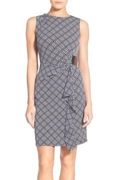 MICHAEL Michael Kors 'Loflin' Print Sleeveless Logo Plate Jersey Dress