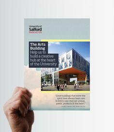 Salford University Arts building brochure by John Thornton, via Behance