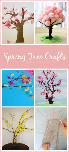 10 ideas for creating spring tree arts and crafts with kids. These spring crafts for preschoolers are colorful, fun, and help kids with important skills. #artsandcraftsideasforkids,
