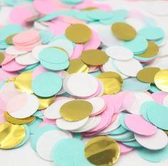 Mintgroen roze wit & goud cirkel confetti | bruids douche | huwelijk decor