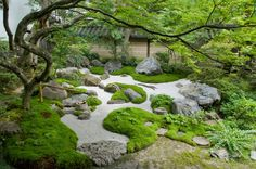 and mounds created around a stone swale in a japanese garden. Islands and mounds created around a stone swale in a japanese garden.Islands and mounds created around a stone swale in a japanese garden. Modern Japanese Garden, Japanese Landscape, Modern Garden Design, Chinese Garden, Landscape Design, Japanese Gardens, Dry Garden, Moss Garden, Garden Care