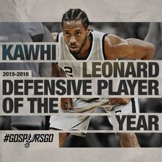 NEW YORK, April 18, 2016 – The San Antonio Spurs' Kawhi Leonard, who helped the team finish with the NBA's top defense this season, is the recipient of the 2015-16 Kia NBA Defensive Player of the Year Award, the NBA announced today. Leonard, a 6-7 forward, becomes the first non-center to earn the honor in back-to-back seasons since Dennis Rodman in 1989-90 and 1990-91.