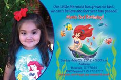 Little Mermaid Party Invitation  http://www.facebook.com/CrystalsCreations4you