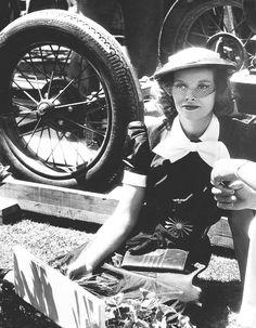 Katharine Hepburn on the set of Alice Adams (1935)