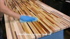 Butcherblock table made from scrap hardwood