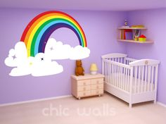 Rainbow & Clouds Wall Art Decor Dcal Sticker by ChicWallsDesign, $16.00