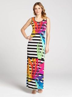 Max out your Spring style in - what else? - a maxi dress. The body of the piece is covered in stark black and white stripes while playful brush strokes work in the bright colour!...3010101-0838