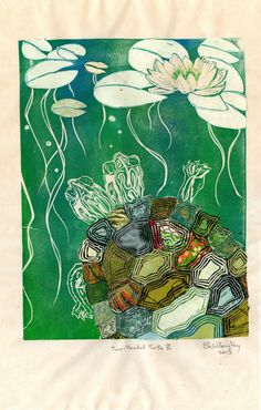 TwoHeaded Turtle VI  Block Print with Mixed Papers by minouette, $50.00