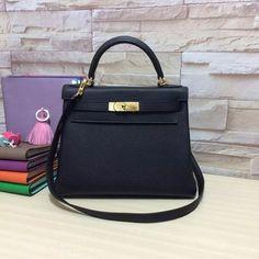 fashion black togo kelly bags 25/28cm genuine leather handbags