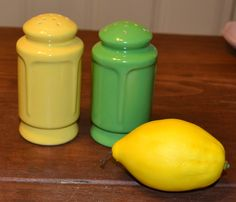 Vintage retro yellow and green salt and pepper shakers